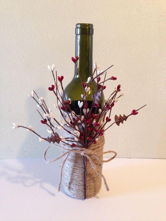 Wine decor, twine wine bottles, wine bottles, decorated wine bottles.
