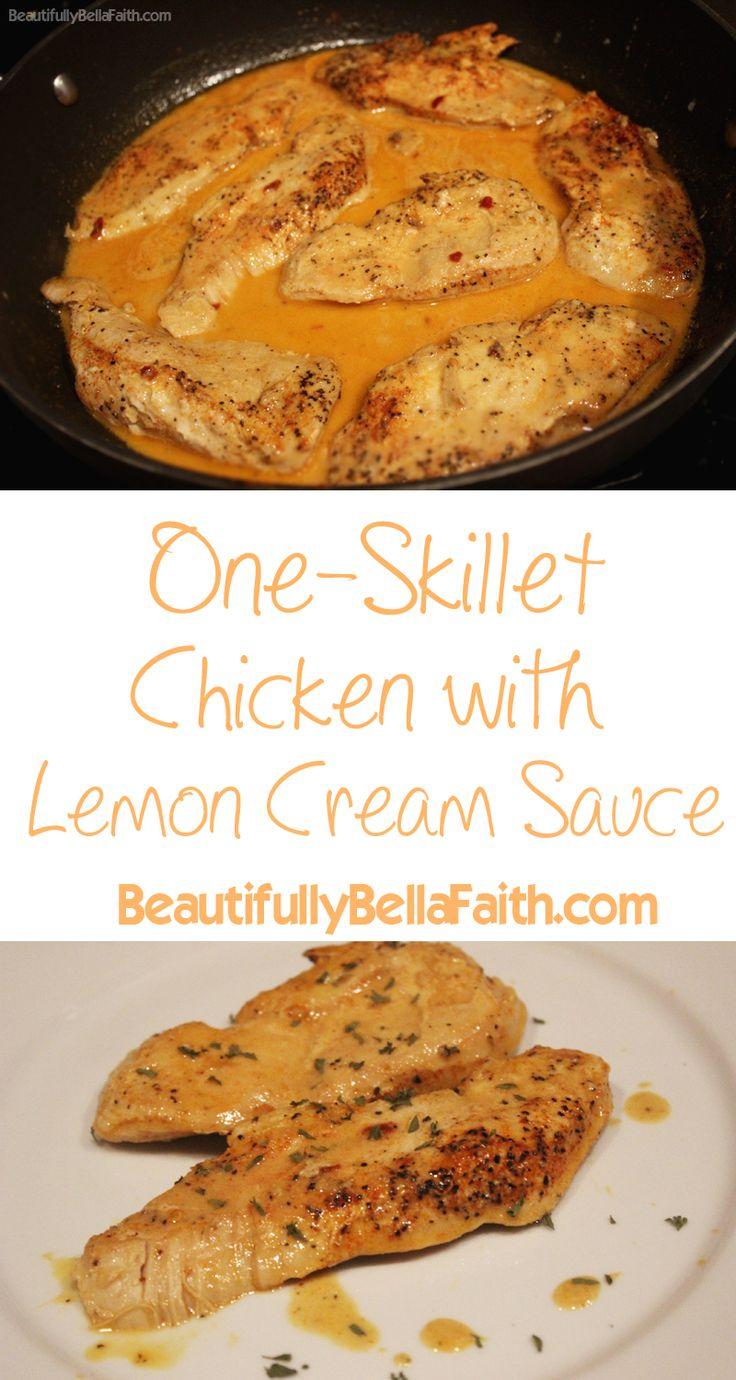 One-Skillet Chicken with Lemon Cream Sauce #recipe