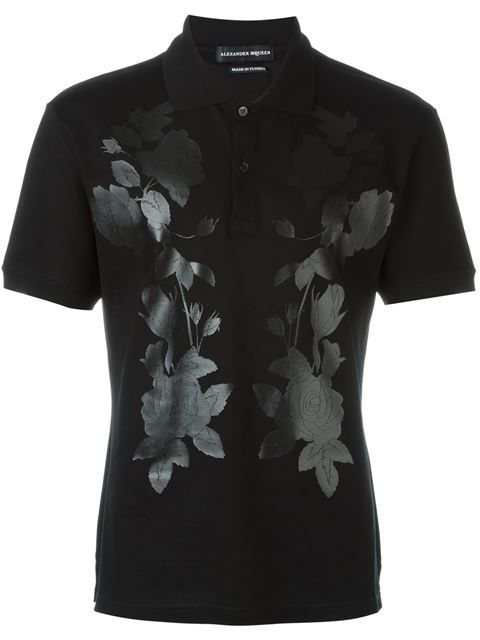 ALEXANDER MCQUEEN Floral Print Polo Shirt. #alexandermcqueen #cloth #shirt