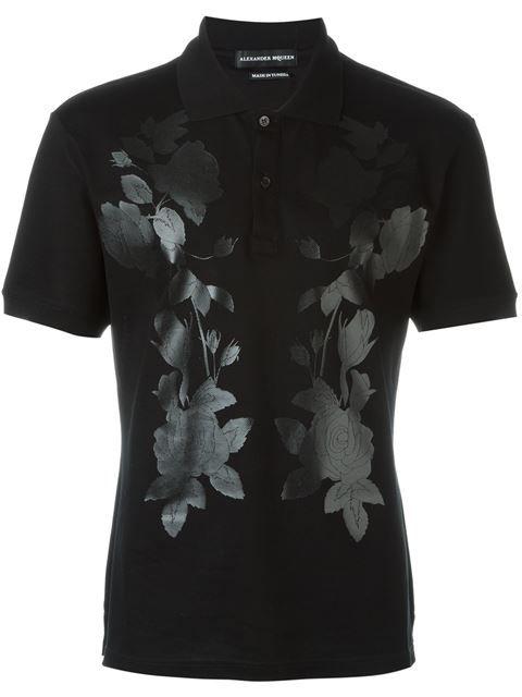 Alexander McQueen floral print polo shirt