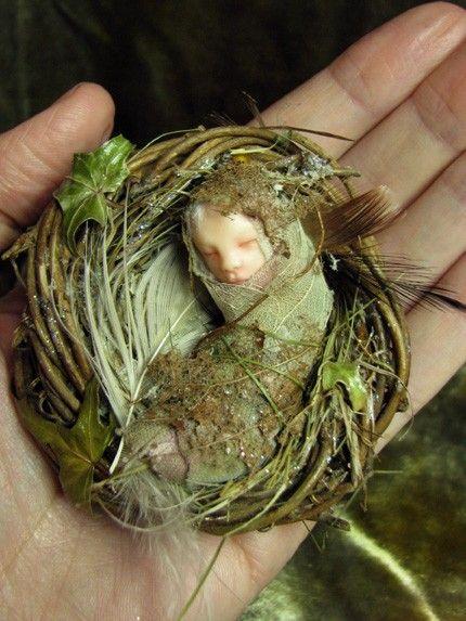 Fairy Baby on Nest Hand-sculpted OOAK Art Doll ADO TEAM