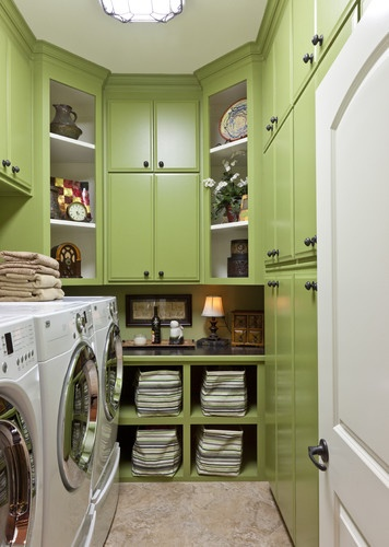 RaeLynn Callaway - traditional - green cabinets in laundry room - Classically Yours Interiors (CYInteriors)