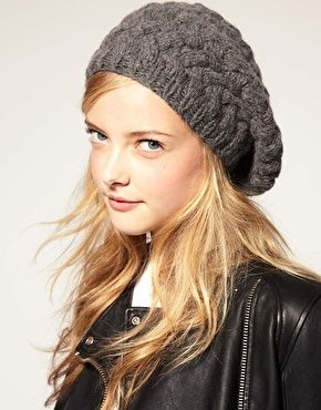 Grey Lowie cable wool slouchy beanie hat <3