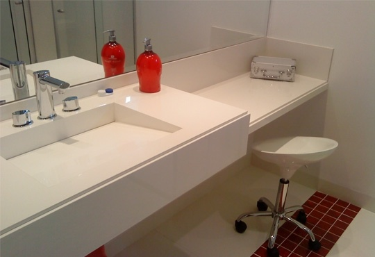Bancada de porcelanato: Interior, Ideas For, Houses, Decoration, Washbasin, Bench, Bathroom
