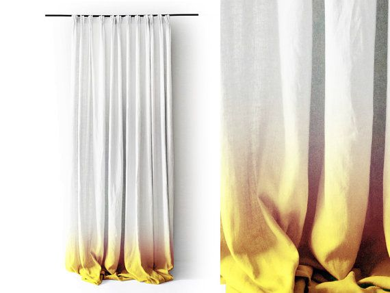 Yellow curtains Ombre, Handmade linen window curtain Yellow fade to white, custom length, 2 curtains lining options, pinch pleat tape top