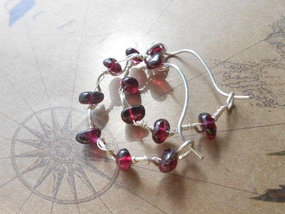 Ruffled hand shaped hoop earrings, garnet stones earrings by RosinTrails on Etsy