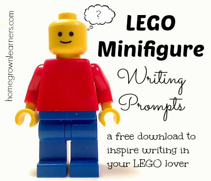 "Lego Minifig writing prompts. Free pdf download. e.g. ""Help! My minifigs have gotten sucked up by the vacuum. What are they thinking?"""