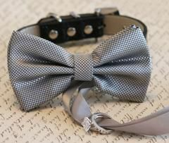 Silver Dog Bow Tie, Dog ring bearer, Pet Wedding accessory, Pet lovers, Silver bow attached to black leather dog collar, Silver wedding idea - LA Dog Store  - 1