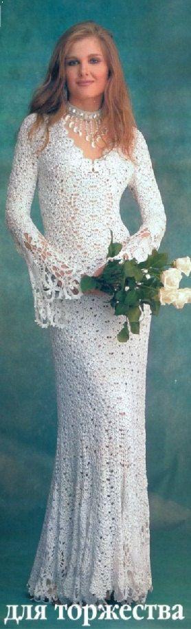 Exclusive Long Crochet Wedding Dress