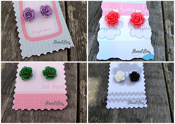 Rose Earrings  Available at:  Sweet Bee https://www.etsy.com/uk/shop/SweetBeeGift