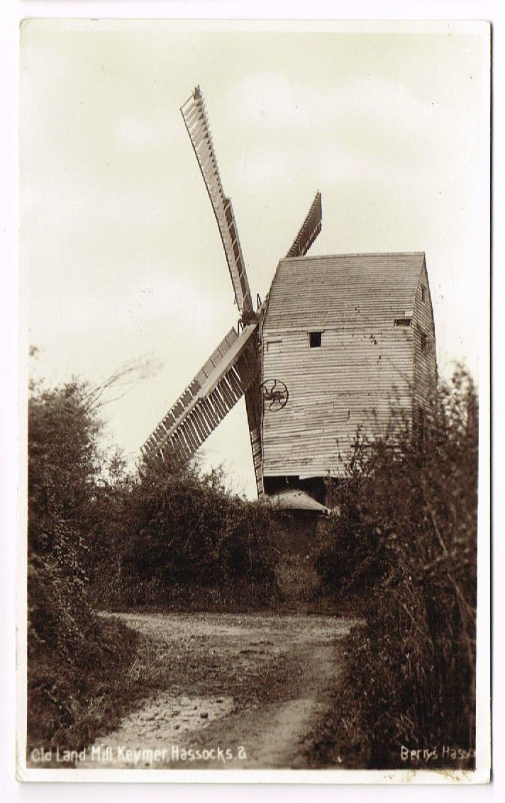 OLD POSTCARD KEYMER WINDMILL HASSOCKS SUSSEX BERRY' REAL PHOTO VINTAGE USED 1932 | eBay