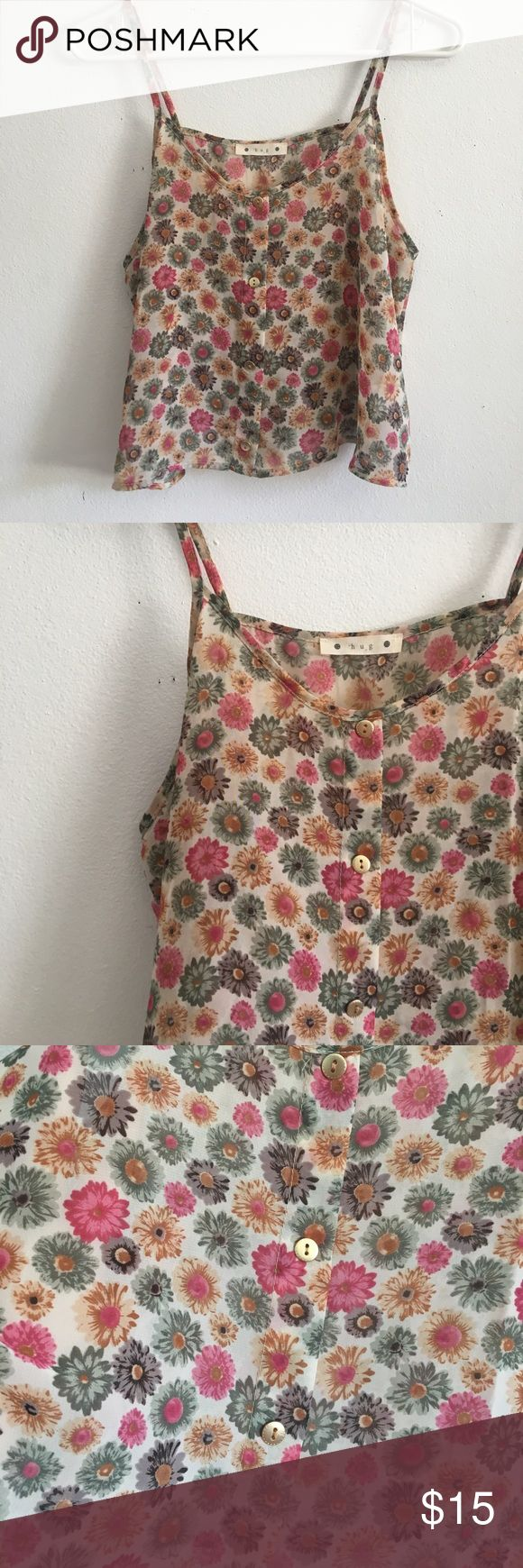 • Colorful Floral Daisy Tank Top • Brand new without tags!!. Has gold button accents but it doesn't not unbutton. Sheer floral daisy top similar to American apparel chiffon tanks 🌸✨ ⭐️Bundles 15% off⭐️  please feel free to ask any questions or submit an offer. hug Tops