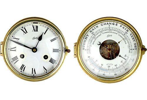 Schatz ship's clock and barometer