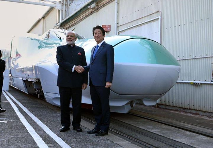 Prime Minister Narendra Modi with the Prime Minister of Japan  Shinzo Abe at the Kawasaki Heavy Industries (KHI) Hyogo Plant in Kobe