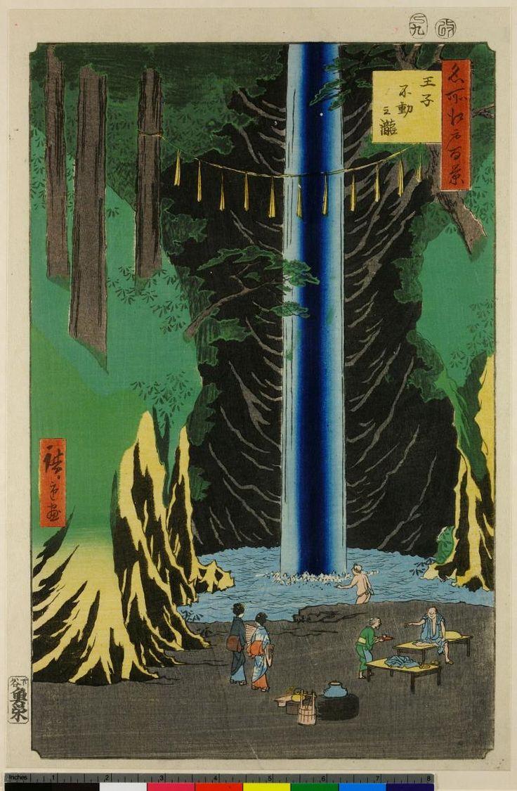 Woodblock print. Rural landscape. Fudo waterfall, figures, furniture. Nishiki-e on paper.