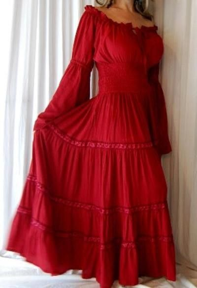 Swirl Clothing Sexy Red Mexican Peasant Dress Lace 12 14