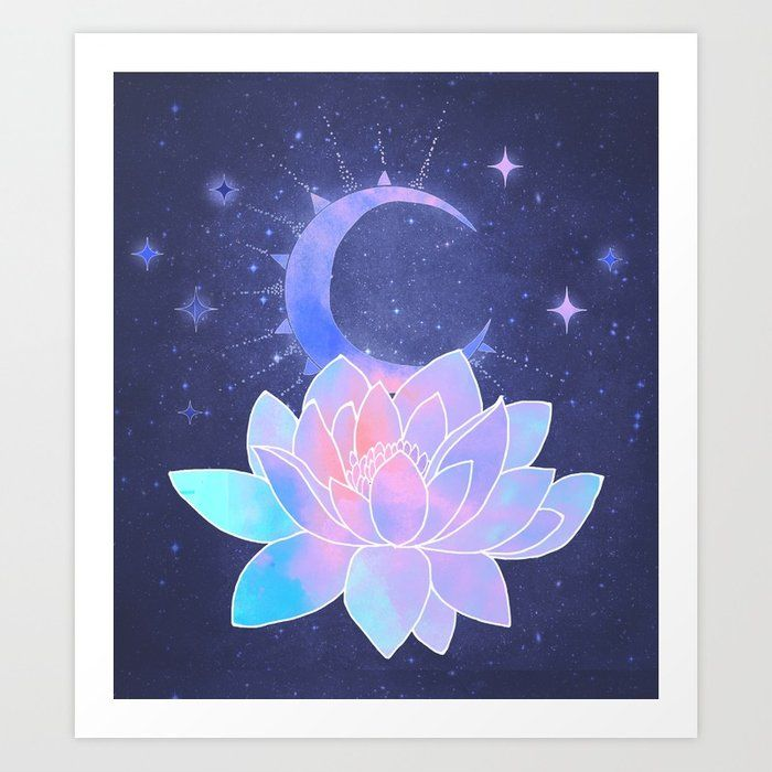 Moon Lotus Flower Art Print By Vitag Society6 Lotus Flower Art