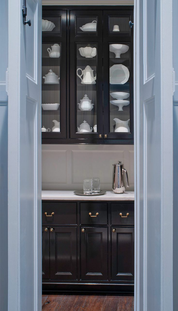 Butleru0027s Pantry With Glossy Black Cabinets And Brushed Stainless Hardware     Donald Lococo Architects
