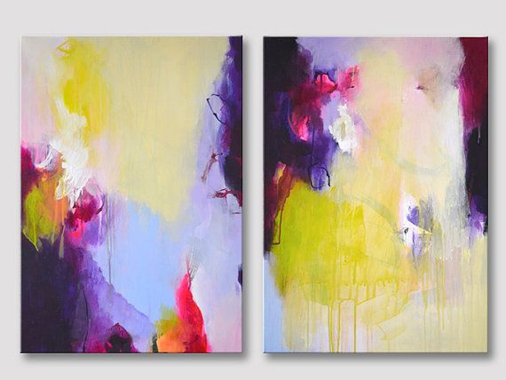 2 parts original abstract painting on stretched canvases, modern fine art, acrylic painting, bold colors, green-yellow purple pink paintings