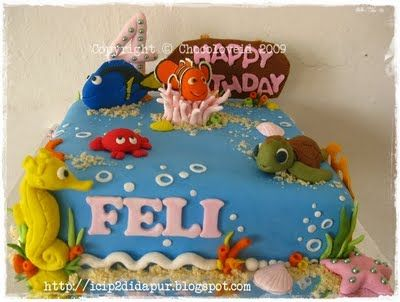 Best Finding Nemo Cakes Images On Pinterest Biscuits - Nemo fish birthday cake