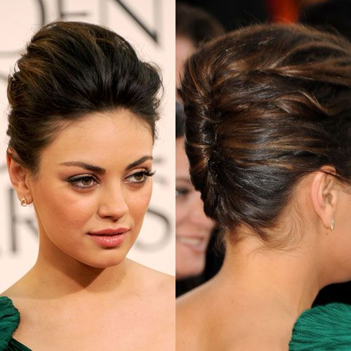 Mila Kunis: Mila's hairstylist, Mara Rosnak, was inspired to give her a sophisticated and feminine modern French twist.