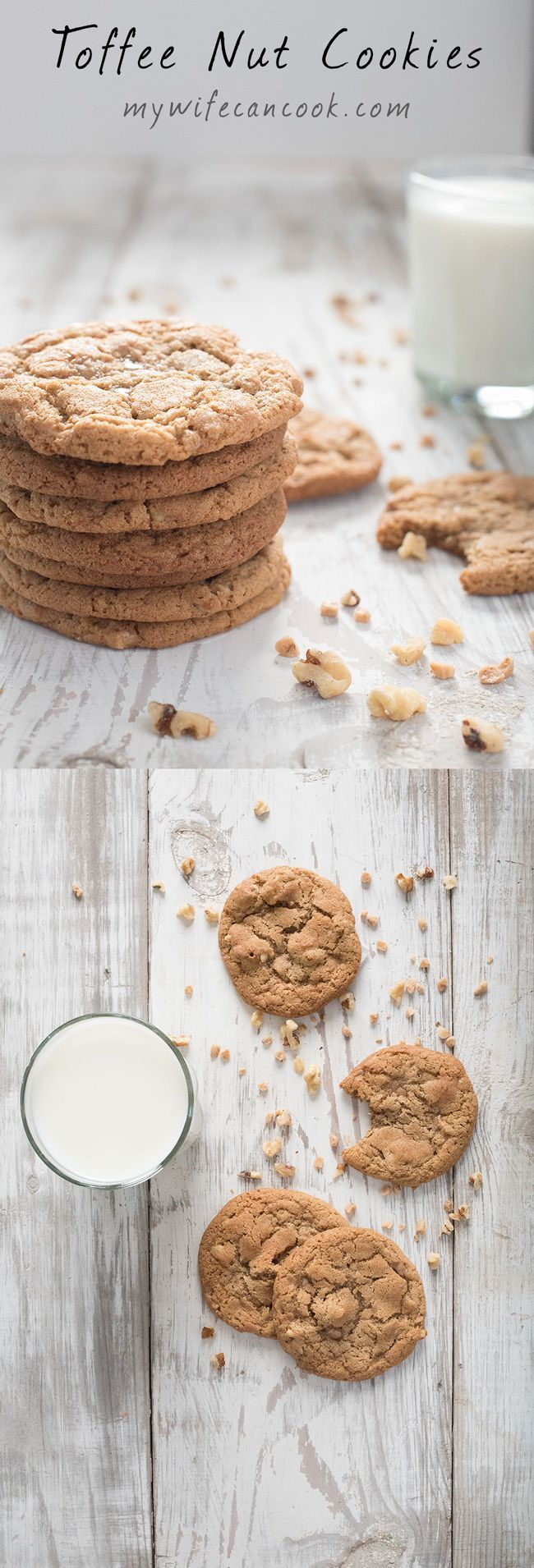 Toffee Nut cookies inspired by Panera Toffee Nut Cookies. In our house we really love the toffee flavor, and of course we love cookies. One of our favorite cookies of recent years has been the Panera Toffee Nut cookie, but when it recently disappeared fro