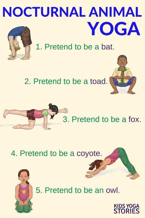 Nocturnal Animals Yoga Printable Poster Toddler Yoga