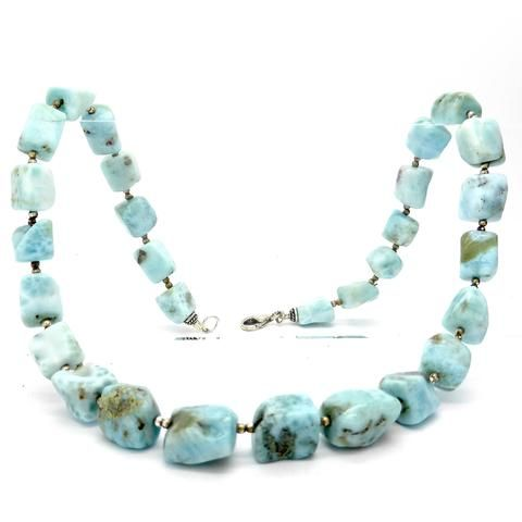 Larimar square cube polished Necklace silver