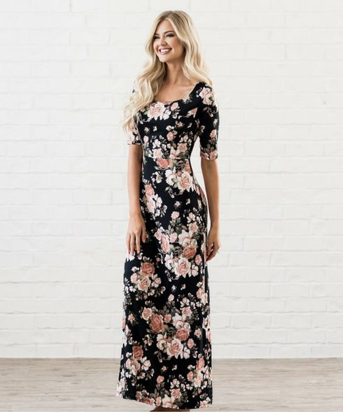 The Michelle maxi dress now available in black floral. Omika ships worldwide from Perth Australia.