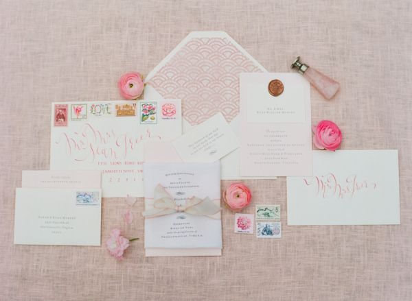 Pretty Pink Wedding Stationery | photography by http://www.jenfariello.com