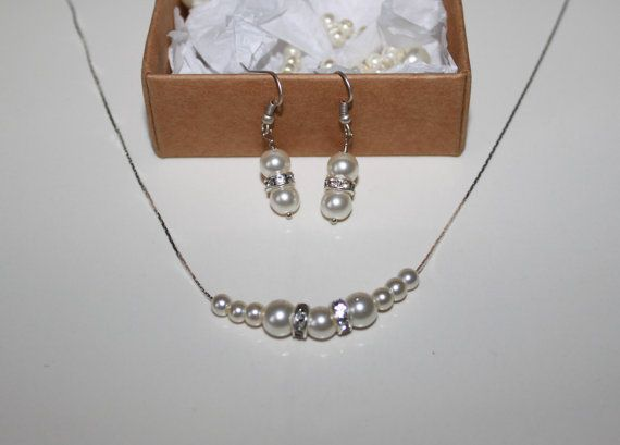 Swarovski Ivory Pearl Earring and Necklace by JewelryPISCES