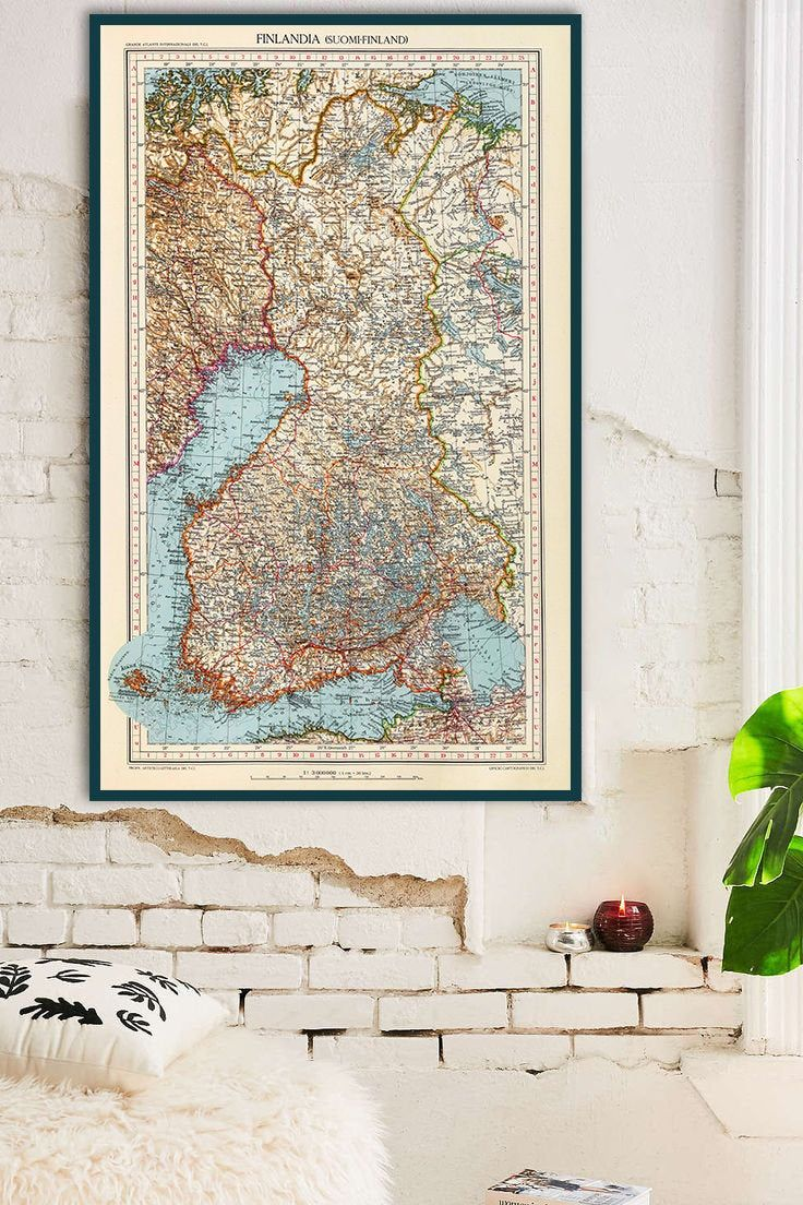 Vintage Map Of Finland Old Finland Map Finland Wall Art Etsy Etsy Wall Art World Map Wall Art Finland Map