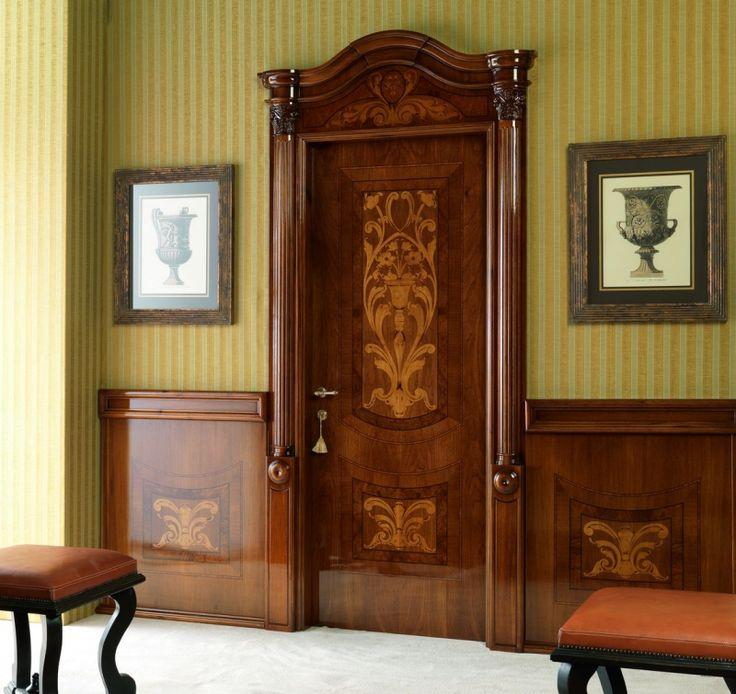 LUIGI XVI 4014/QQ/INTAR. Italian walnut glossy Maggiolino inlay finish with wall panelling Luigi XVI© Classic Wood Interior Doors | Italian Luxury Interior Doors | New Design Porte Emotions