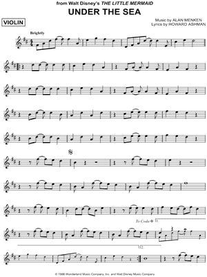 """Under the Sea"" from 'The Little Mermaid' Sheet Music (Violin Solo)"