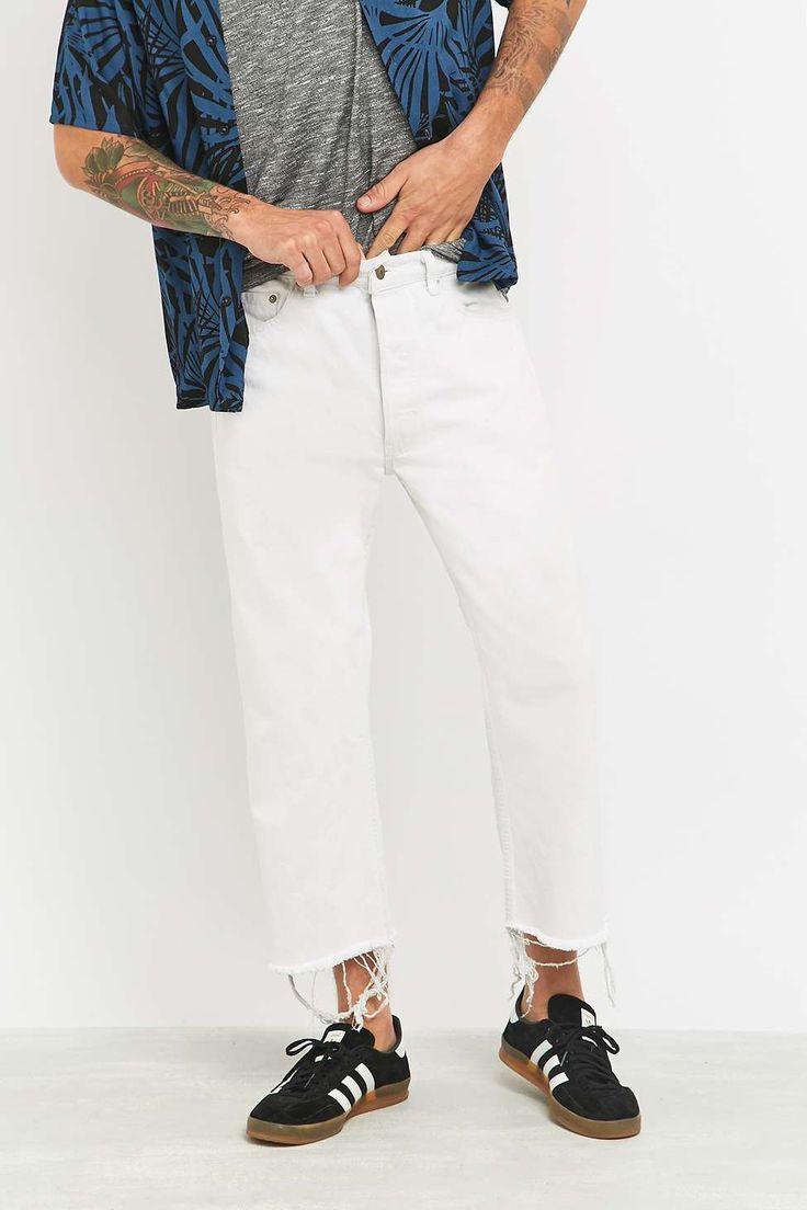Urban Renewal Vintage Customised White Raw Hem Levis 501 Jeans