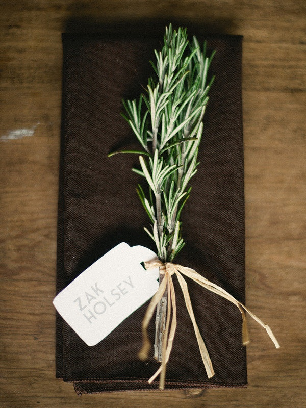 a sprig of rosemary at each place setting. looks so pretty and probably smells amazing too  Photography by http://jillianmitchell.net/, Event Design and Planning by http://thedazzlingdetails.com