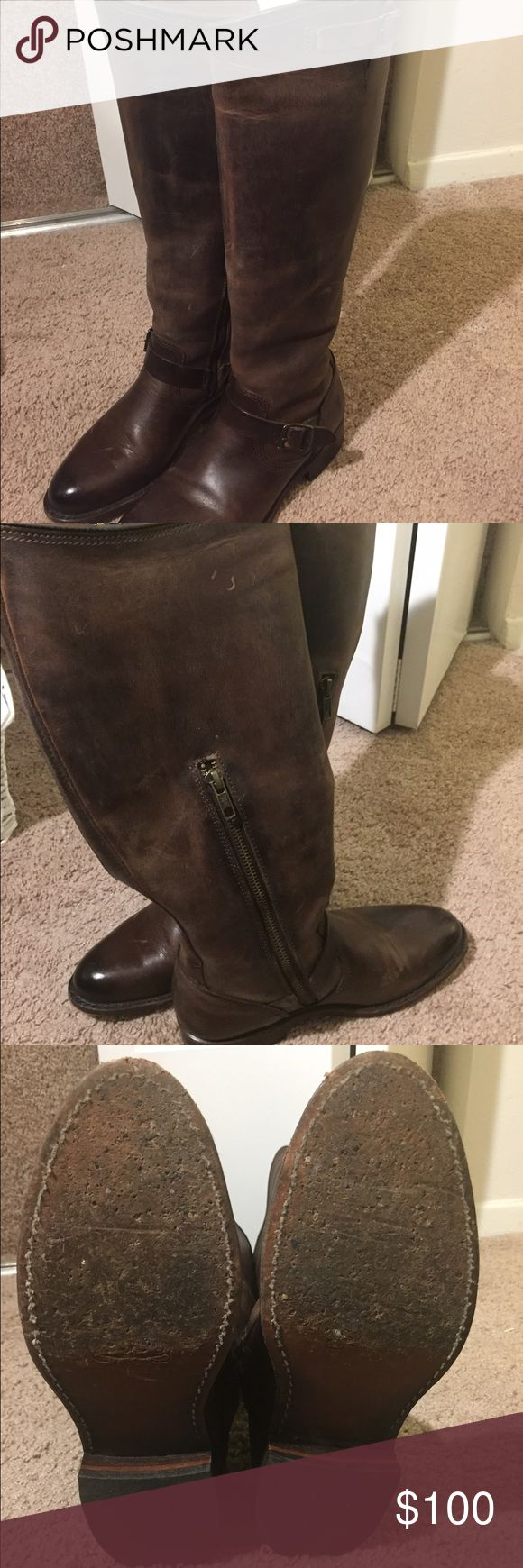 Women's Brown Frye Riding Boots Only worn a few times and have a natural rustic look. I normally wear a size 7.5/8 and the size 7 fit great! The bottom is scuffed up a little but the sole is in great condition. Will accept offers! Frye Shoes Winter & Rain Boots