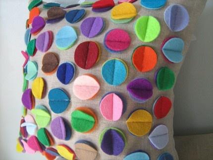 "Rainbow Disc Pillow, 13""x13"" $33"