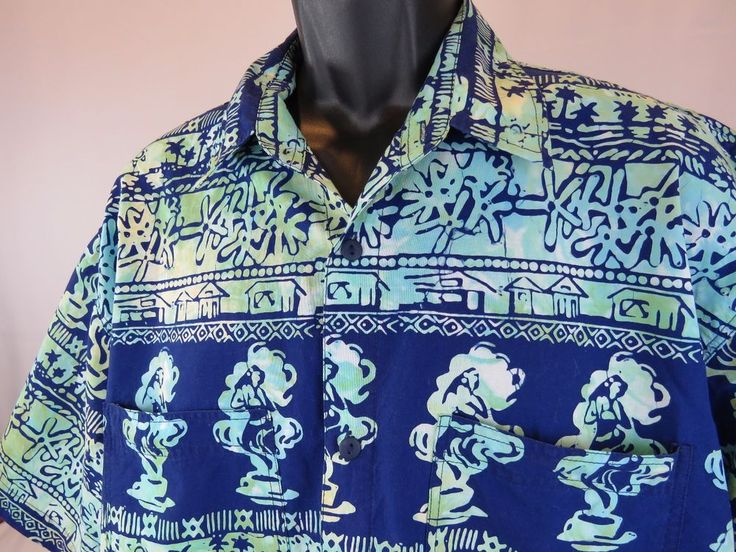 MEN'S RUM REGGAE XL Casual Shirt Hawaiian Aloha KAUAI COFFEE CO Cotton Blue #RumReggae #ButtonFront