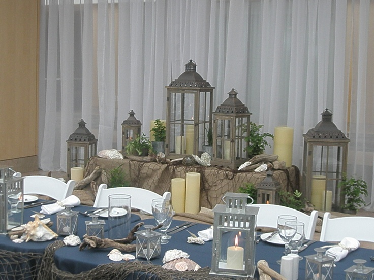Blue wedding head table decorBeach Theme
