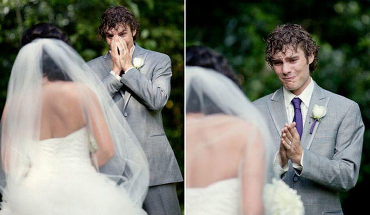 Männer, die zum ersten Mal ihre Braut sehen. Schnief!