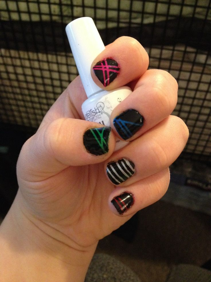Neon tapped nails!  Jan 27, 2014