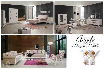 Angela Düğün Paketi; Oturma Odası, Yatak Odası, Yemek Odası Takımlarından oluşmaktadır. Londra Koltuk Takımı (Bej)); 2 adet Üçlü Koltuk ve 2 adet Berjer'den oluşmaktadır. Angel Modern Yatak Odası Takımı; 1 adet Dolap, 1 adet Şifoniyer, 1 adet Karyola, 2 adet komodin'den oluşmaktadır. Angel Modern Yemek Odası Takımı; 2 adet Vitrin, 1 adet Konsol+Ayna, 1 adet Masa, 6 adet Sandalye'den oluşmaktadır.
