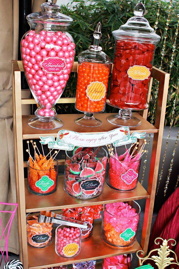 Candy station: Candy Bar Birthday Buffet, Candy Buffet, Colors Candy, Candy Stations, Candy Tables, Parties Ideas, Alice In Wonderland Candy Bar, Desserts Tables, Candy Bar Ideas For Parties