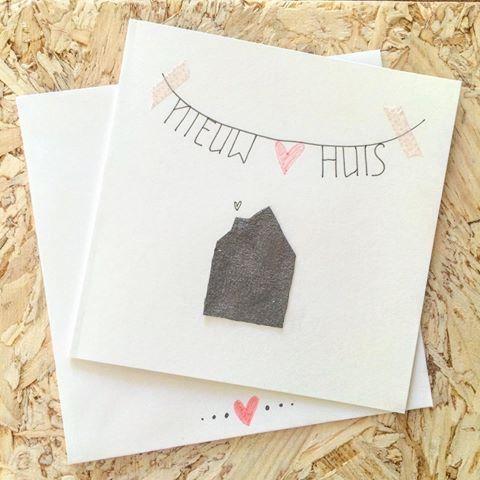 •Happy New Home• #verhuizen #verhuiskaartje #handmade #lievigheidje #home #huis #love #happynewhome #newhome #hout #wit #liefde #samenwonen #kaartje #postcard #echtepostiszoveelleuker