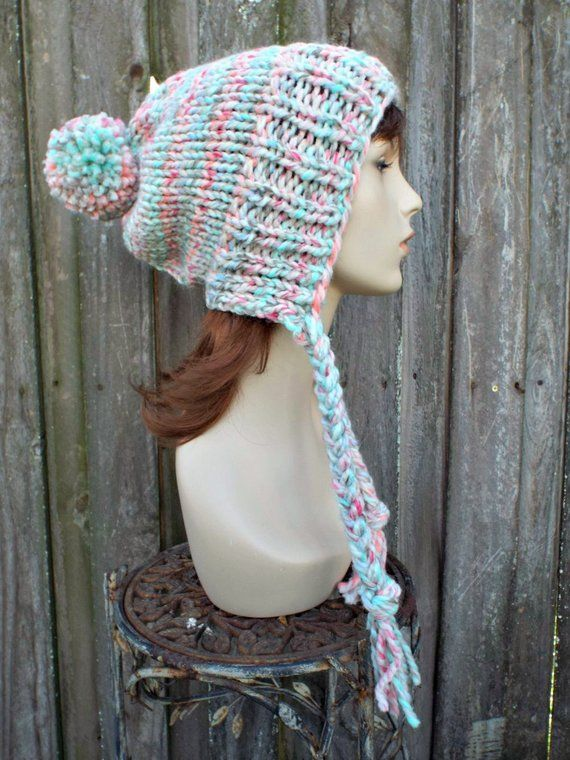 17dd6786abc Chunky Knit Hat Womens Pastel Rainbow Pom Pom Hat - Slouchy Ear Flap Beanie  With Braided Ties Warm Winter Hat - READY TO SHIP