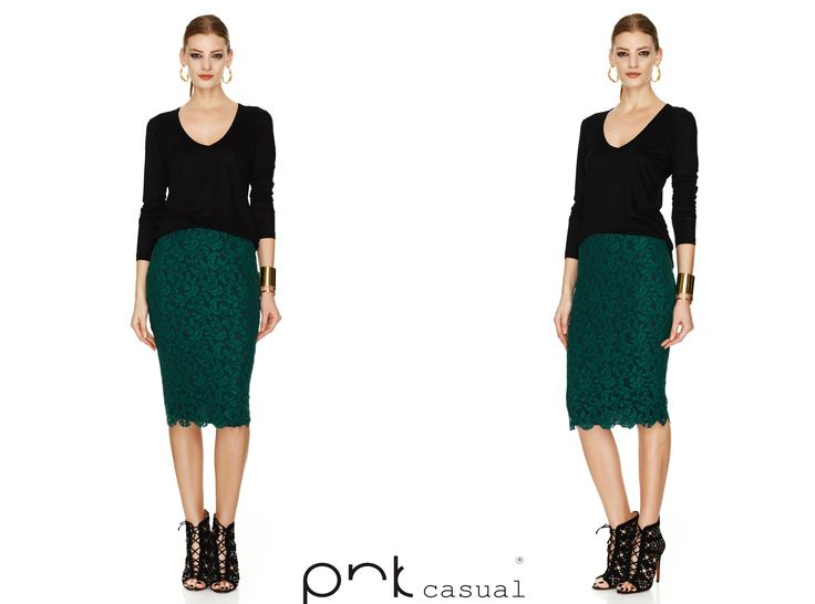 Green lace skirt by PNK casual.  #winter #pnkcasual #fashion #cool #happiness