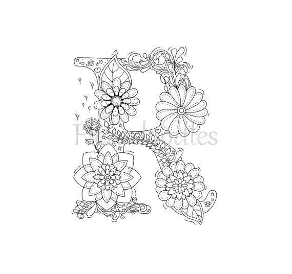 Malseite zum Ausdrucken  Buchstabe R  floral von Fleurdoodles