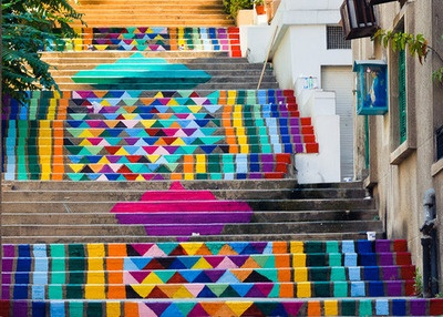 Brightly painted steps in Beirut.: Artists, Paintings Stairs, Street Art Utopia, Hands, Colors, Paintings Step, Beirut Lebanon, Basements, Streetart