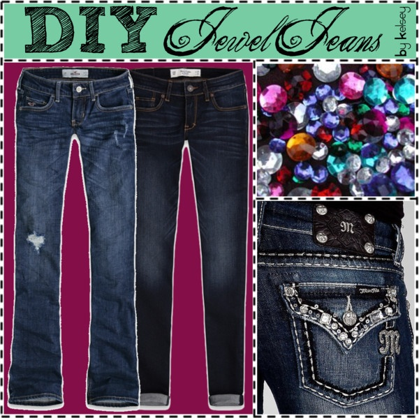 """""""DIY Jewel Jeans"""" by tips-equal-love ❤ liked on Polyvore"""